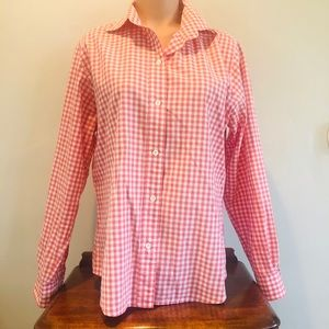 Favonnable Pink Checkered Gingham Blouse